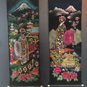 2 velvet Japanese scroll paintings vintage retro